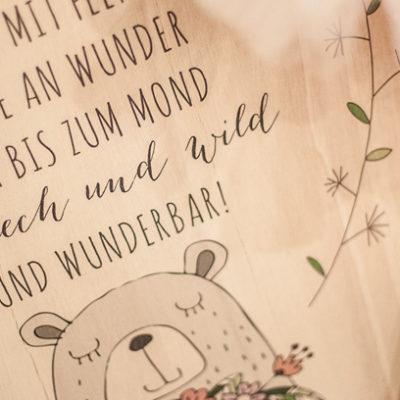 Süße Motive auf Holz gedruckt für das Kinderzimmer + Gewinnspiel